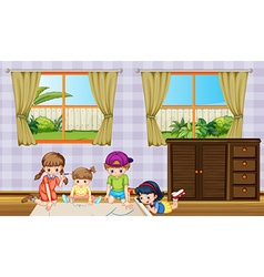 Children drawing picture in the room vector
