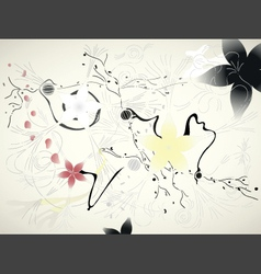 chinese floral background vector image