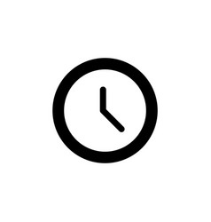 clock icon flat design black vector image