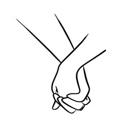 close-up lover holding hand sketch vector image