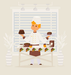 confectioner work with chocolate vector image