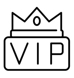 Crown on inscription vip icon outline style vector