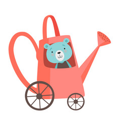 cute bear bariding car made red watering can vector image