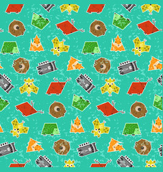 Cute kids pattern with textured animals vector