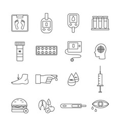 Diabetes icon set - flat black and white line vector