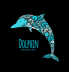 Dolphin ornate logo sketch for your design vector