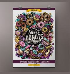 donuts doodles poster design confectionery sign vector image