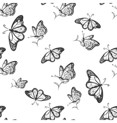 Doodle butterfly pattern vector
