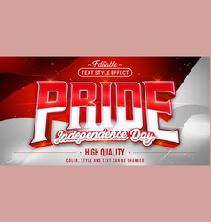 Editable text style effect - pride red and white vector