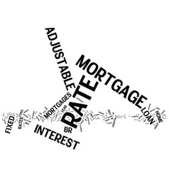 Fixed rate mortgage text background word cloud vector