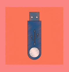 Flat shading style icon flash drive vector