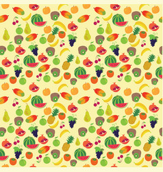 Fruit pattern on a yellow background vector