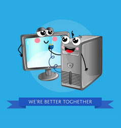 Funny computer gadgets banner in cartoon style vector