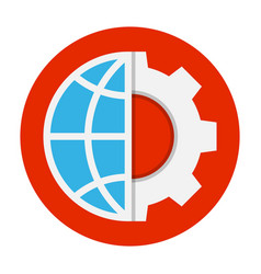globe and gear flat icon vector image