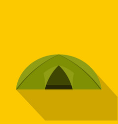 green tent for camping icon flat style vector image