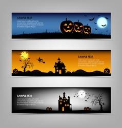 Halloween night banners template vector image