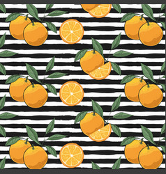 hand drawn oranges slices pattern vector image