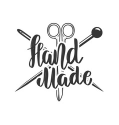 handmade emblem template with scissors and vector image