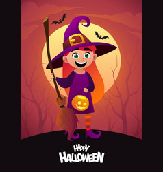happy halloween cartoon character costume witch vector image