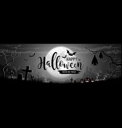 happy halloween message on moon and castle vector image