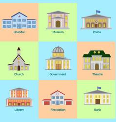 icons set colorful public vector image