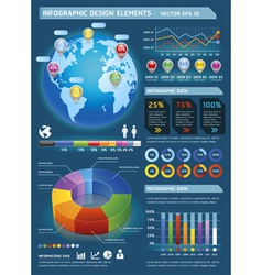 Infographic elements with global map vector