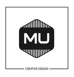 Initial letter mu logo template design vector