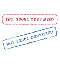 Iso 22001 certified textile stamps vector