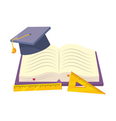 Isolated book cap and ruler school design vector