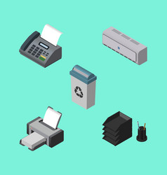 Isometric cabinet set of office phone desk file vector