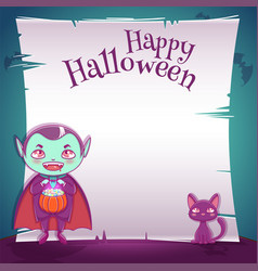 little kid in costume of vampire with black kitten vector image