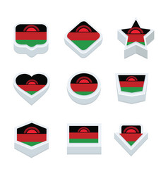 malawi flags icons and button set nine styles vector image