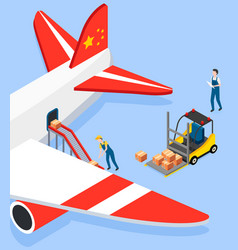 man puts boxes on conveyor belt in airplane vector image