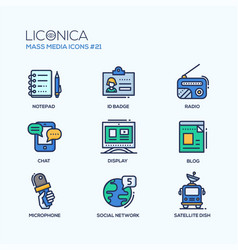 mass media - coloured modern single line icons set vector image