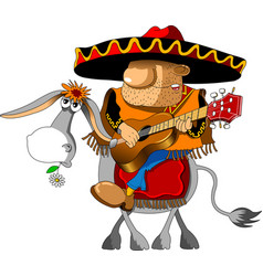 mexican on a donkey vector image