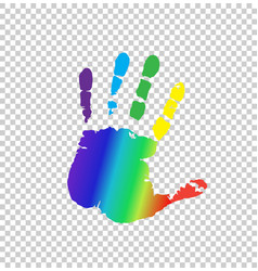 multicolored silhouette of human handprint on vector image