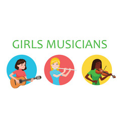 Musicians girls is inspired to play different vector