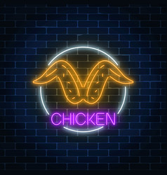 Neon glowing sign of chicken wings in circle vector