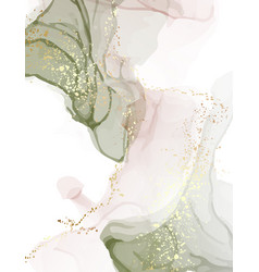 neutral green watercolor rose gold glitter vector image