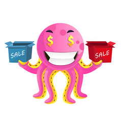 octopus with sale signs on white background vector image
