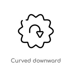 Outline curved downward arrow icon isolated black vector