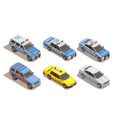 Passenger cars isometric collection vector