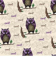 Pattern with owl on a branch vector