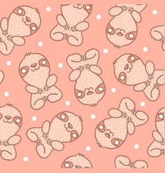 Pattern with sloth with dots vector