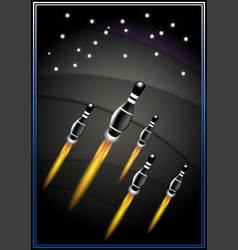 Poster with flying black bowling pins fiery jets vector