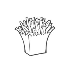 Potato fry french fries on paper box vector