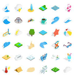 rain water icons set isometric style vector image