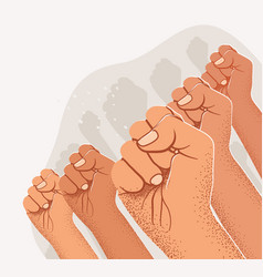 Raised arm fists silhouettes public demonstration vector
