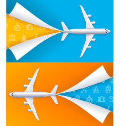 realistic detailed 3d airplane travel concept vector image