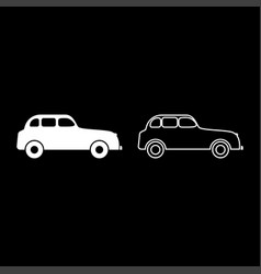 retro car icon set white color flat style simple vector image